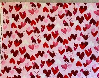 """Red Pink HEARTS on PINK Quilt Quilting Fabric 100% Cotton by the Precut Remnant, Fat Quarter, Half Yard Oop VALENTINE """"All My Heart"""""""