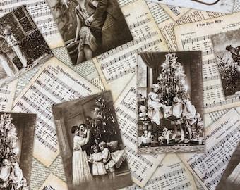 CHRISTMAS MUSIC Photos Cotton Fabric - Robert Kaufman - by the Yard or Select Length - Library Of Rarities - Vintage SHEET Music Fabric
