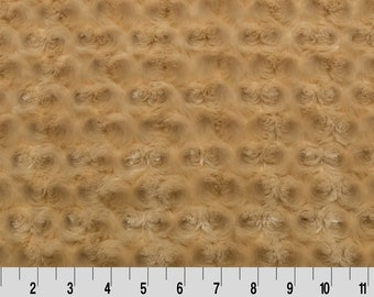 Rosette MINKY Fabric CAMEL Luxe Cuddle Shannon Fabrics by the Yard Faux Fur Swirl Plush Texture Super Soft Fabric