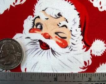 Merry CHRISTMAS Vintage SANTA RED White Quilt Fabric - Retro Christmas Santa Claus - Timeless Treasures - Rare