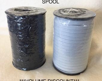 144-Yard SPOOL 1/4-inch White ELASTIC Spandex Band Sewing trim/hand make MASK ear string supplies 6mm U.S.A. seller fast Free Shipping