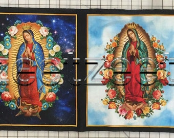 VIRGIN of GUADALUPE Fabric Blue Virgin Mary Cotton Fabric Panel by Robert Kaufman Inner Faith Religious Holy Mother