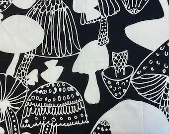 MUSHROOMS Fabric - Alexander Henry Black & White Fabric - Black and White Cotton Quilt Fabric - Mushroom