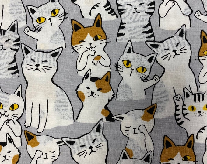 ANIMAL CLUB CATS Grey Cotton Fabric - Robert Kaufman - by the Yard or Select Length - Kitty Cat Quilting Quilt Fabric - Sevenberry Gray Cat