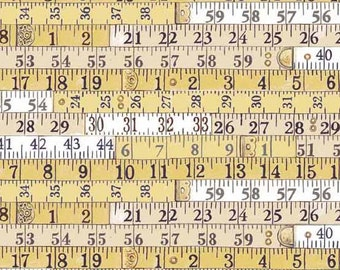 MEASURING TAPE Yellow White Sewing Tools Quilt Fabric - by the Yard, Half Yard, or Fat Quarter Fq Haberdashery by Makower UK