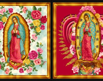 Virgin of Guadalupe Fabric PANEL by Robert Kaufman ABCM-6482-195 BRIGHT by B Creative from Inner Faith Virgen Mary