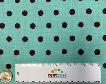 AQUA BROWN Polka DOT Japanese Fabric Import - Lightweight Canvas Japan by Etsuko Furuya Kokka Linen/Cotton Turquoise Chocolate