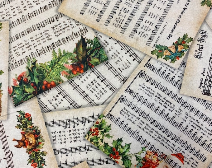 CHRISTMAS MUSIC Cotton Fabric - Robert Kaufman - by the Yard or Select Length - Library Of Rarities - Letters Vintage SHEET Music Fabric
