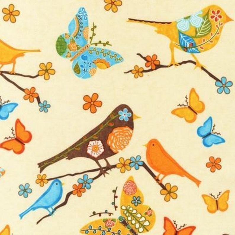 Birdwatching quilting fabric Rainbow Feathers – Cream F//Q or YRD