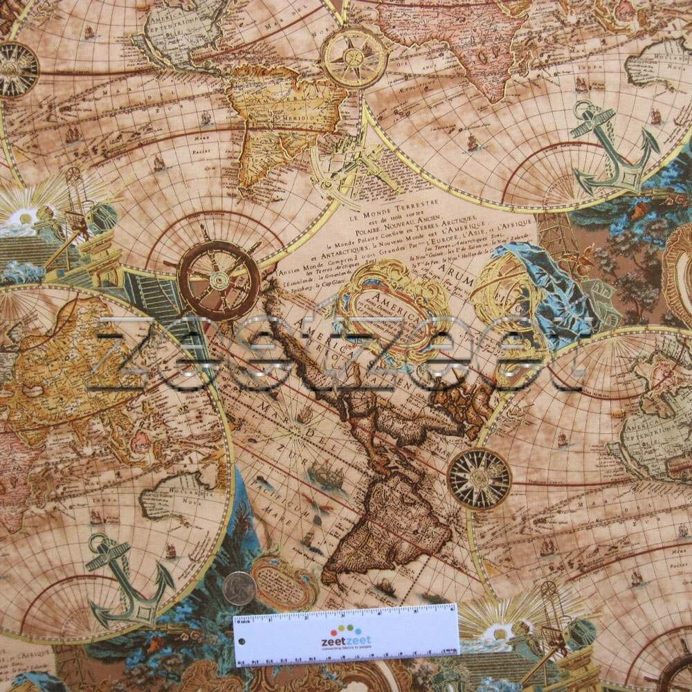 World map brown teal 100 cotton apparel quilting weight fabric by gallery photo gallery photo gumiabroncs Gallery
