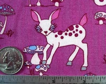 """Woodland Wonderland DEER AND MUSHROOMS Orchid Quilt Fabric Sold by the 18"""" x 45"""" Half Yard or 18"""" x 22"""" Fat Quarter Rare Out of Print"""