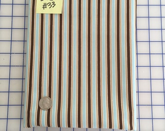 SALE by the Yard - Light Blue Tan Brown STRIPE #33 Robert Kaufman Pimatex Cotton Quilt Dress Fabric Basics