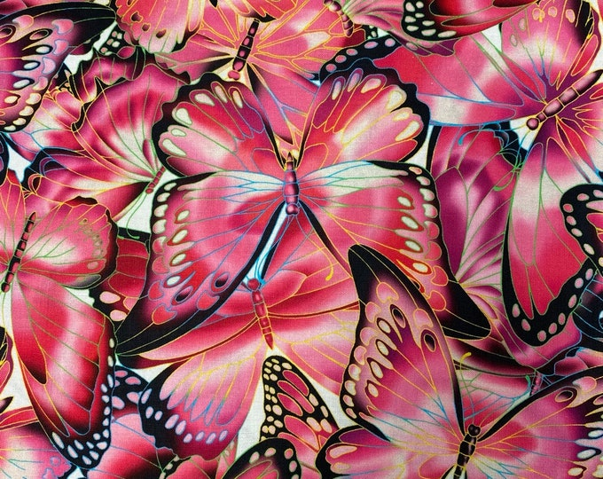 BUTTERFLIES PINK Fabric - Robert Kaufman - by the Yard or Select Length - NATURE Studies Quilting Quilt Fabric - Butterfly Fabric