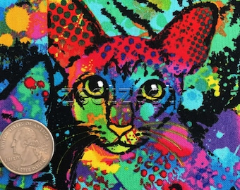 STAINED GLASS CATS Multi  Cat Cotton Quilt Fabric by the Yard, Half Yard or Fat Quarter Fq Kittens Kitty Paint Splatter Painted Colorful