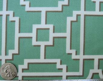 "GREEN LATTICE Fabric, Seafoam White BOTANIKA Collection Quilt Fabric - Paula Prass for Michael Miller Fabrics - 18"" x 22"" Fat Quarter"