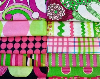 FQ Set Printed Cotton Quilt Fabric, Fat Quarters, Quilting Fabric, Pink Green Black