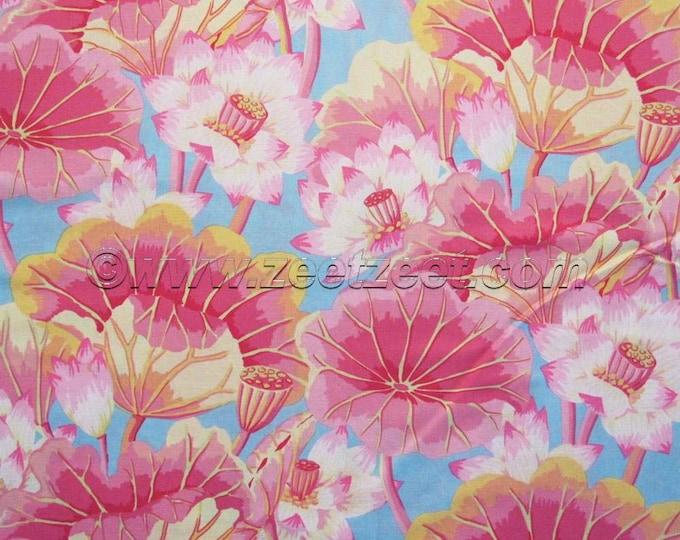Kaffe Fassett LAKE BLOSSOMS Pink Light Blue Yellow GP93 Quilt Fabric - by the Yard, Half Yard, or Fat Quarter