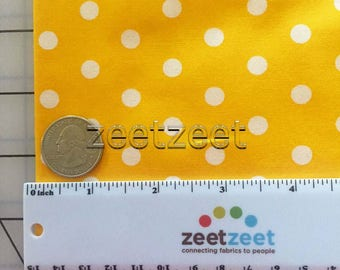 "Half Yard Remnants YELLOW & White 1/4"" POLKA DotRobert Kaufman Pimatex Cotton Quilt Dress Fabric 1/2 Yard Precut"