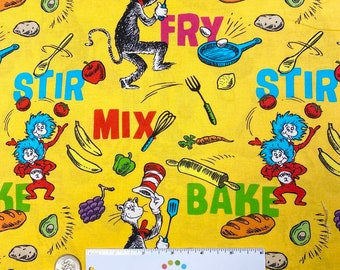 Dr. Seuss CHEF COOKING Fabric by the yard or cut - YELLOW Celebrate Seuss! - Quilt Fabric -  Robert Kaufman Fabrics