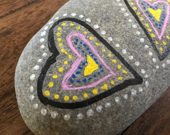 Two hearts - painted rock