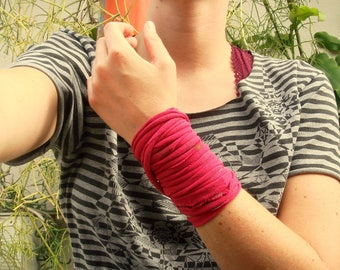 wasteland jersey cuff / womens multi strand fabric bracelet, wrist tattoo cover, anklet, necklace BRIGHT PINK