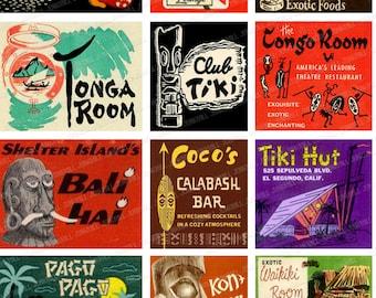 TIKI TIME - Digital Printable Collage Sheet - Vintage Tiki Matchbook Covers, Polynesian Culture, Easter Island Statues, Digital Download