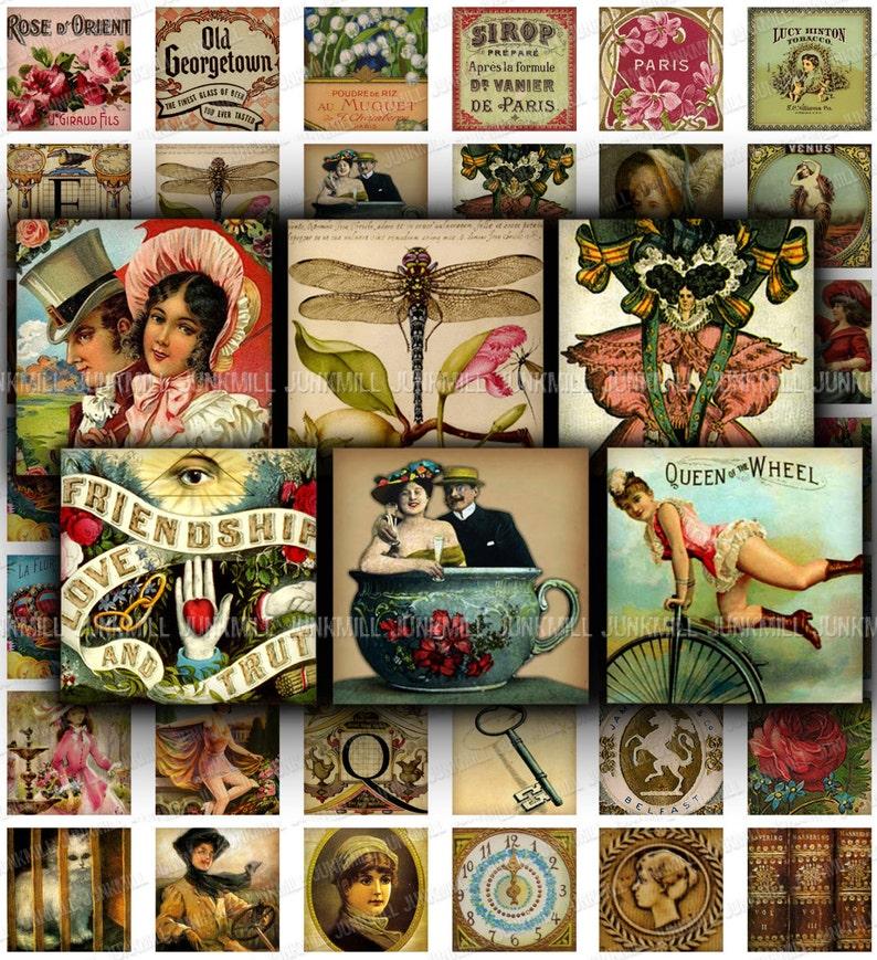 MINI MEDLEY III Scrabble Tiles 1 Squares Variety Sampler with Victorian Women /& Vintage Ephemera Digital Printable Collage Sheet