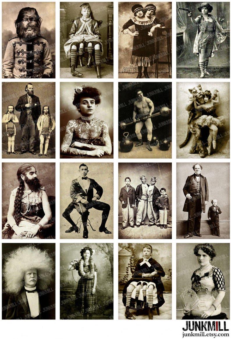 HUMAN ODDITIES  Digital Printable Collage Sheet  Vintage image 0