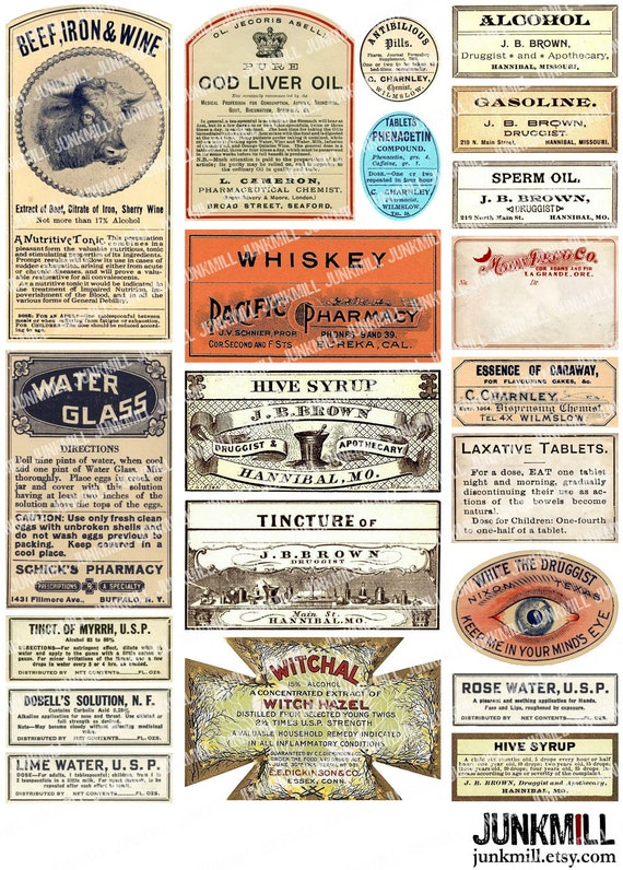 This is an image of Free Printable Vintage Apothecary Labels with regard to template