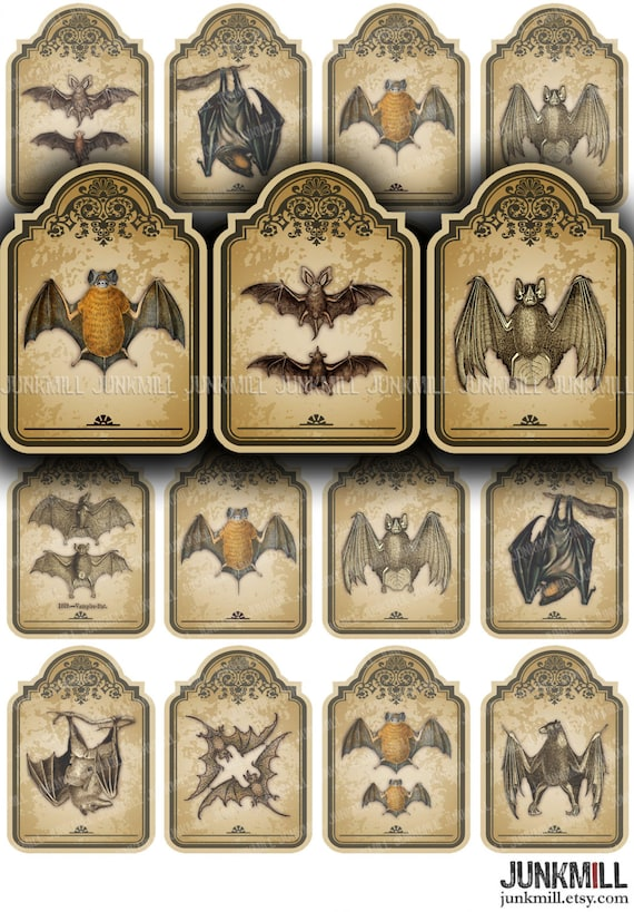 Vintage Vampire Bat Hang Tags VICTORIAN BATS Instant Download Digital Printable Collage Sheet Large Antique Distressed Halloween Tags