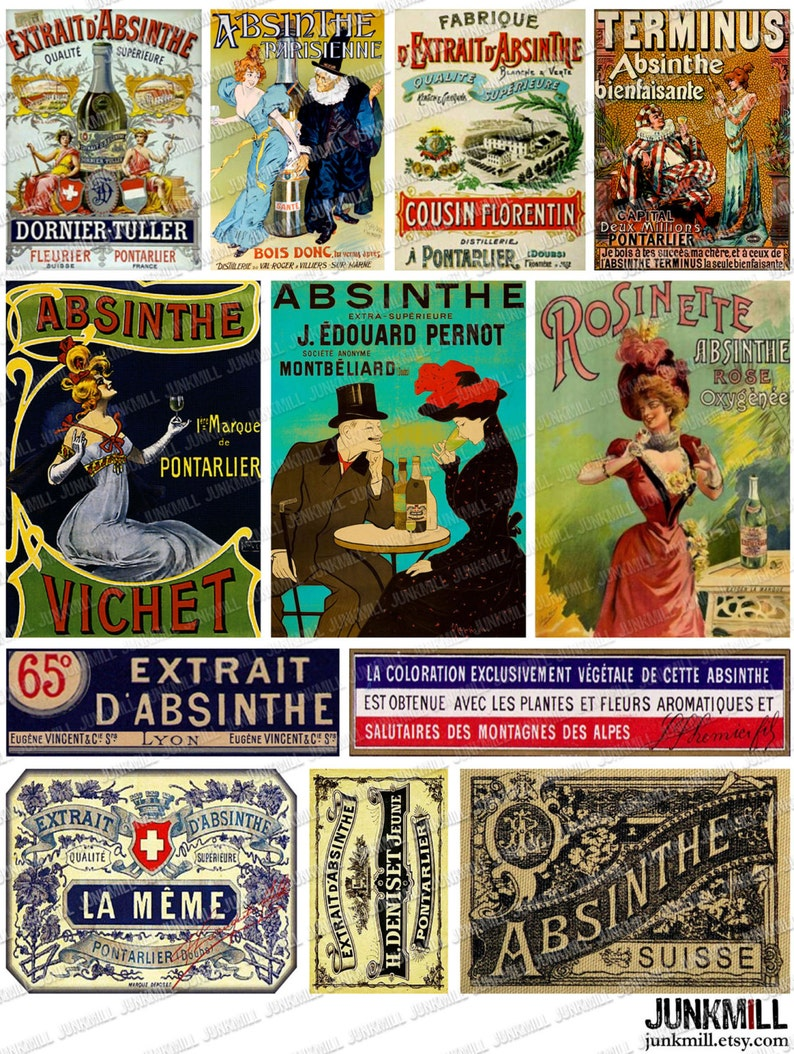 3a980b4ab9 ABSINTHE Digital Printable Collage Sheet French Victorian