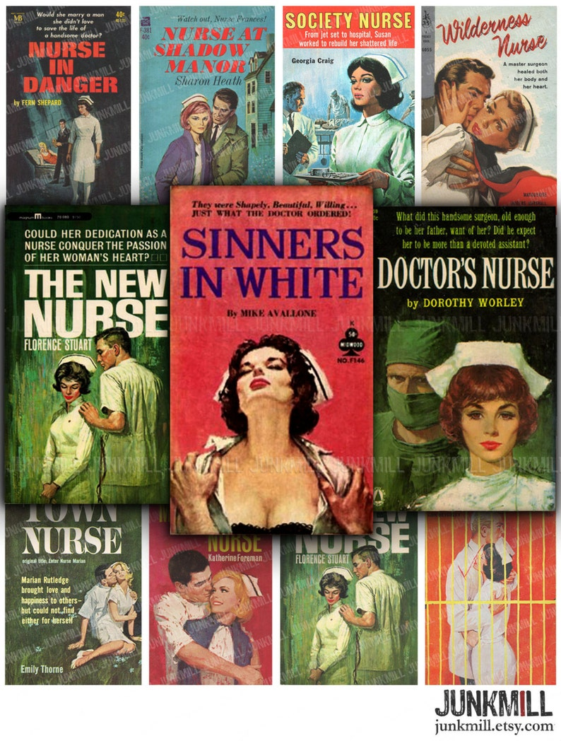 LET'S PLAY Doctor - Digital Printable Collage Sheet - Naughty Nurses &  Steamy Romance, Retro Vintage Medical Pulp Fiction Book Covers