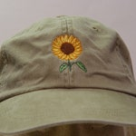 SUNFLOWER Hat - One Embroidered Women Men Fall Garden Baseball Cap - 24 Colors Mom Dad Gift Caps Available - Price Apparel Embroidery