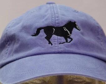 RODEO COWBOY BUCKING HORSE HORSESHOE BASEBALL CAP HAT DARK BLUE