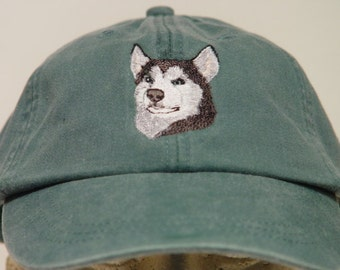 10770c5aa9d SIBERIAN HUSKY DOG Hat - One Embroidered Men Women Baseball Cap - Price  Embroidery Apparel 24 Color Men Women Gift Caps Arctic Sled Dogs