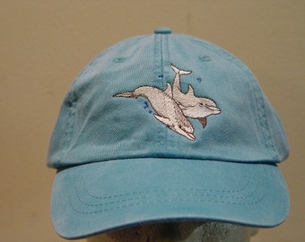 46158c20a9c TWO DOLPHINS HAT - One Embroidered Men Women Wildlife Baseball Cap - Price  Embroidery Apparel 24 Color Mom Dad Porpoise Ocean Dolphin Gift