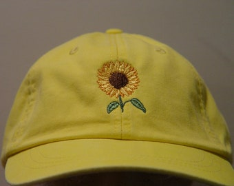 SUNFLOWER Cap - One Embroidered Women Men Fall Garden Baseball Hat - 24  Colors Mom Dad Gift Caps Available - Price Apparel Embroidery e7de59326358