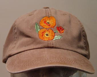 bb8e598ffc7 POPPY FLOWER Hat - One Embroidered Women Men Garden Baseball Cap - 24  Colors Mom Dad Gift Caps California Veteran - Price Apparel Embroidery
