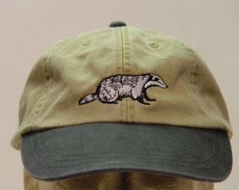df067482eeb5a9 BADGER HAT - One Embroidered Mom Dad Wildlife Cotton Baseball Cap - Price  Embroidery Apparel - 6 Two Tone Color Men Women Wisconsin Caps