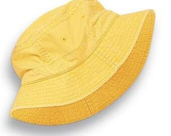 2fc86774c18 SALE - Large CHILD Lemon Yellow Bucket Hat - Girls Boys Adams Kids Cap -  Price Apparel Embroidery Children