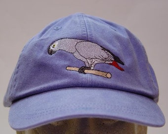 a65884e267a AFRICAN GRAY BIRD Hat Embroidered Women Men Wildlife Baseball Cap - Price  Embroidery Apparel - 24 Color Mom Dad Parrot Gift Caps Available