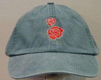 RED CARNATION January Flower of Month Embroidered Women Garden Hat Baseball  Cap - 24 Colors Mom Dad Gift Caps - Price Apparel Embroidery af44869c7a1b