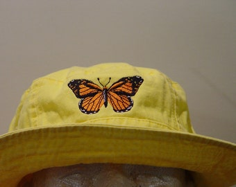 a0379b0f684cbd MONARCH BUTTERFLY XL Bucket Hat - One Embroidered Women Men Cap - Price  Apparel Embroidery - 10 Color Mom Dad Wildlife Gift Milkweed Caps
