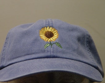 SUNFLOWER Hat - Embroidered Women Men Autumn Garden Baseball Cap - 24  Colors Mom Dad Gift Caps Available - Price Apparel Embroidery 2cd92932ba4d
