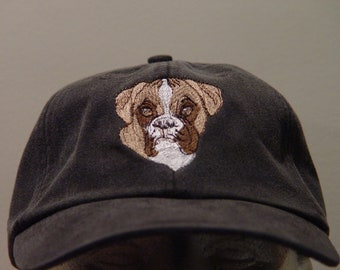 07bf45c6d4a BOXER DOG Hat - One Embroidered Men Women Mom Dad Baseball Cap - Price  Embroidery Apparel - 24 Color Gift Caps Family Pet Canine