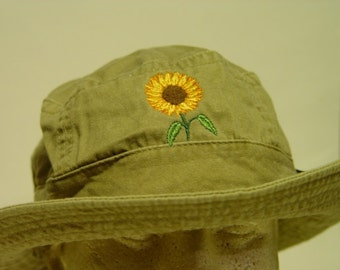 SUNFLOWER XL Bucket Hat - Embroidered Women Men Flower Garden Gift Cap - 10  Colors Mom Dad Beach Hats Available - Price Apparel Embroidery f60553a11866