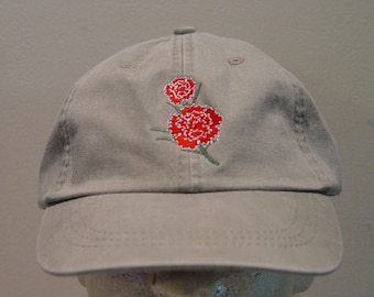 6aff9fa5 RED CARNATION January Flower of Month Embroidered Women Garden Hat Baseball  Cap - 24 Colors Mom Dad Gift Caps - Price Apparel Embroidery