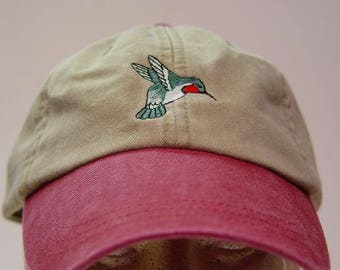 HUMMINGBIRD HAT - One Embroidered Bird Women Men Wildlife Gift Cap - Price  Embroidery Apparel - 6 Two Tone Color Mom Dad Caps Available 61ef823bf2ec
