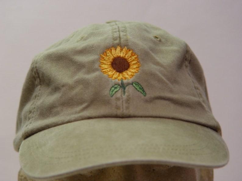 SUNFLOWER Hat One Embroidered Women Men Fall Garden Baseball  c7e03aca07a2