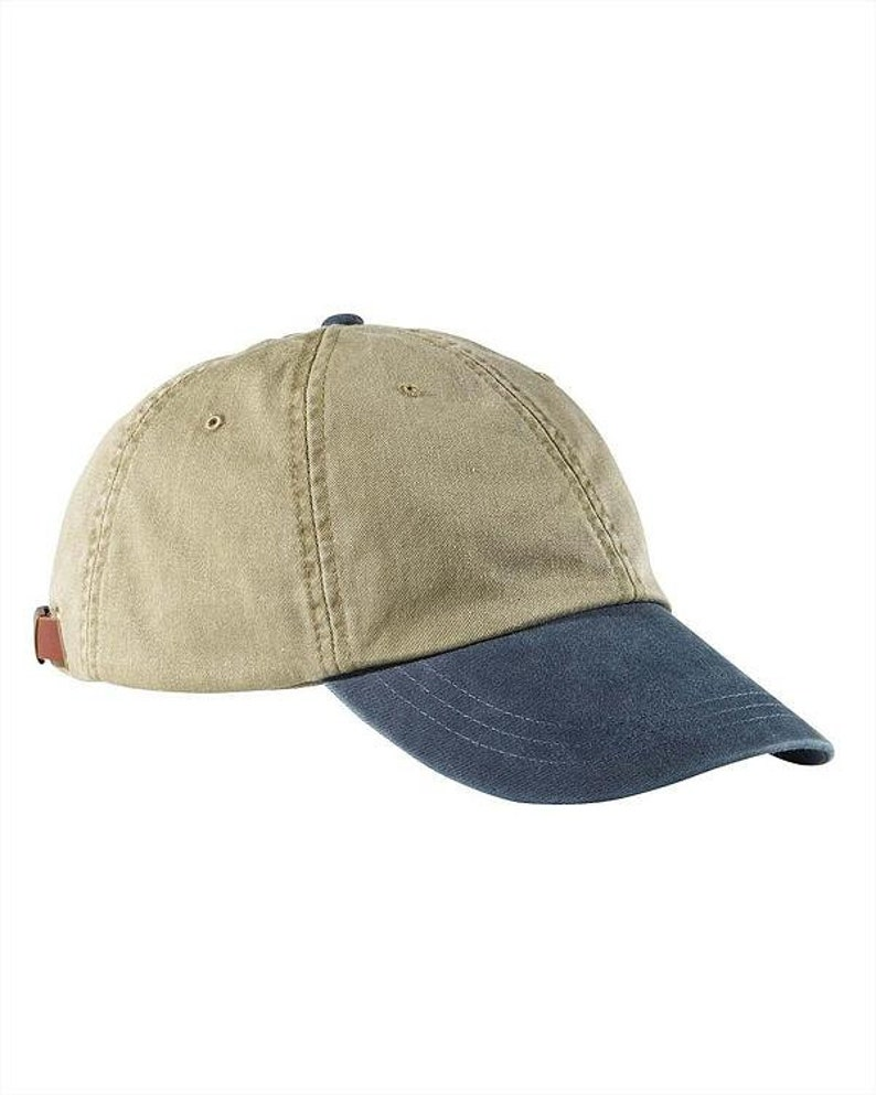 KHAKI NAVY HAT - One Women Men Adams Two Tone Cotton Baseball Cap - 6 Color  Low Profile Mom Dad Gift Hats Available Price Apparel Embroidery